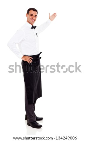 friendly waiter welcomes customers isolated on white