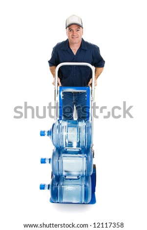 friendly water delivery man with a hand truck loaded with 5 gallon water jugs full