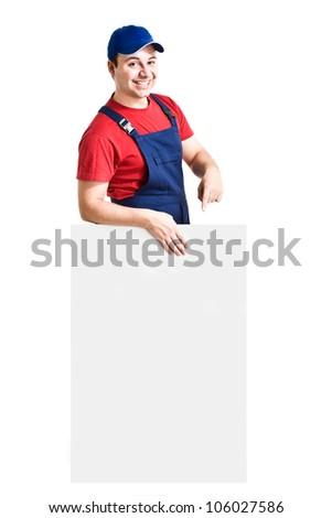 Friendly worker showing an empty board - stock photo