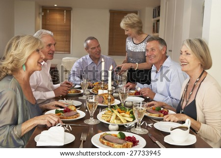 Friends At A Dinner Party - stock photo