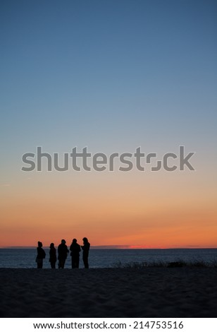 friends at beach in sunset - stock photo