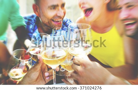 Friends Drinking Lunch Outdoors Party - stock photo