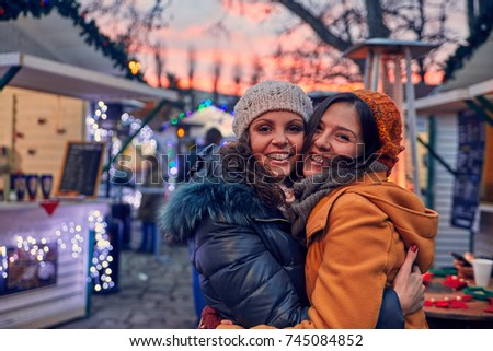 Friends Enjoying Christmas Market