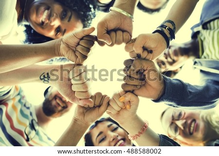 Friends Fist Together Circle Teamwork Concept