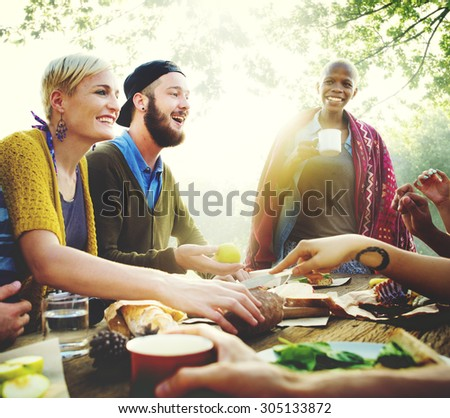 Friends Friendship Outdoor Dining People Concept - stock photo
