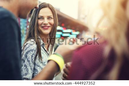 Friends Fun Happiness Amusement Park Festival Concept - stock photo