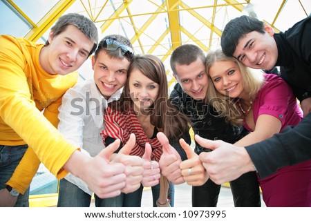friends group gesturing ok - stock photo
