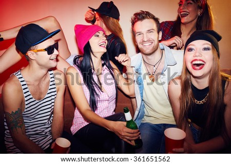 Friends in bar - stock photo
