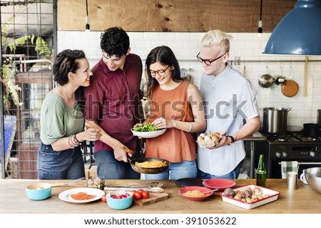 Friends Kitchen Cooking Dining Togetherness Concept - stock photo
