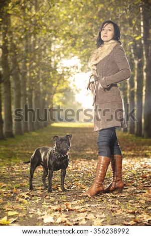 Friends - lady and dog - stock photo