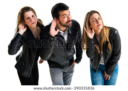 Friends listening something - stock photo