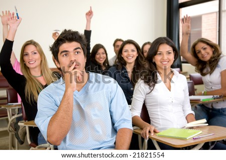 friends or university students in a classroom - stock photo
