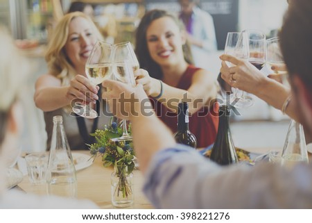 Friends Party Cheers Enjoying Food Concept - stock photo