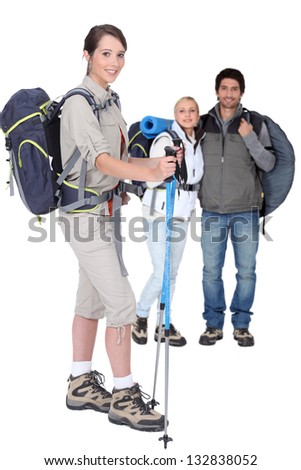 Friends ready to go hiking - stock photo