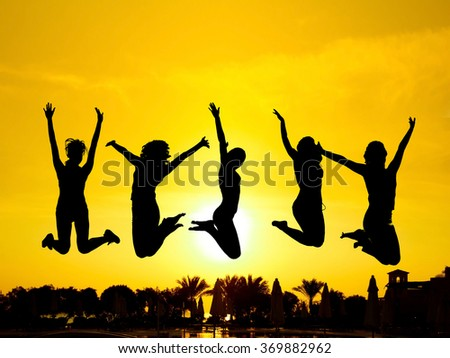 Friends Silhouettes Backlit Group  - stock photo