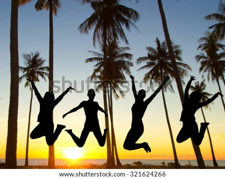 Friends Silhouettes Dance the Night Away