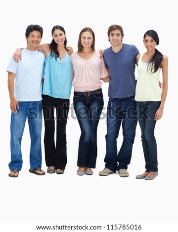 Friends smiling arm in arm against white background