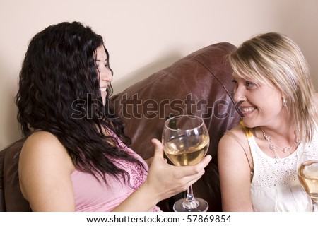 Friends Socializing at Home and Drinking Wine - stock photo