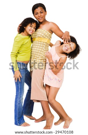Friends standing together and smiling isolated over white - stock photo