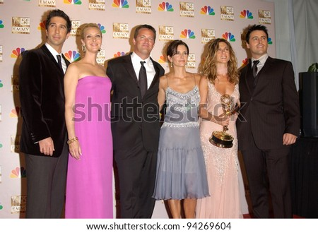 Friends stars DAVID SCHWIMMER (left), LISA KUDROW, MATTHEW PERRY, COURTNEY COX ARQUETTE, JENNIFER ANISTON & MATT LEBLANC at the 2002 Emmy Awards in Los Angeles. 22SEP2002.  Paul Smith / Featureflash - stock photo