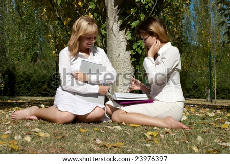 friends studying together - stock photo