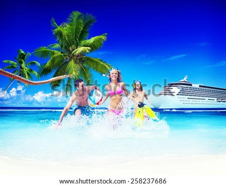 Friends Summer Beach Happiness Beach Ball Playing Concept - stock photo
