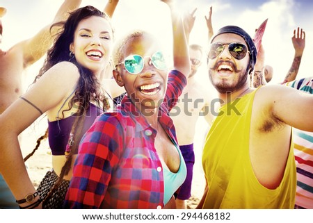 Friends Summer Beach Party Festival Concept - stock photo