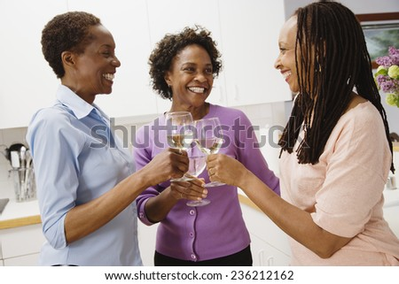 Friends Toasting in Kitchen - stock photo