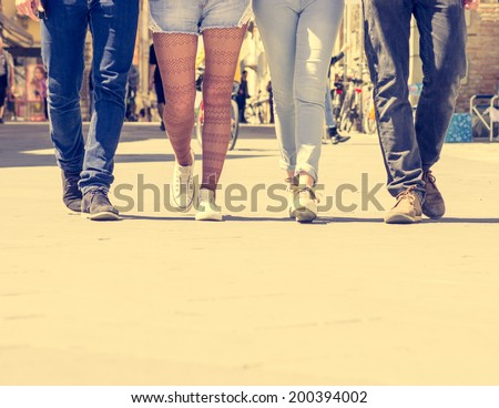 friends walking in the city - stock photo