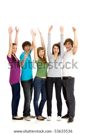 Friends with arms raised - stock photo