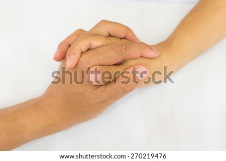 Friendship and love concept between parent and kid isolated on the white background - stock photo