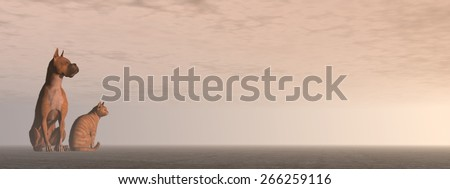 Friendship between cat and dog looking same direction by sunrise light - 3D render - stock photo