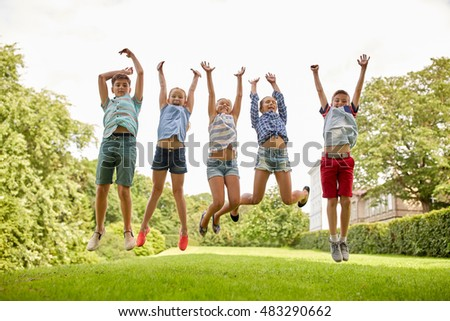 fba94ef99d6e3 Group Children Jumping Air Park Stock Photo 54990775 .