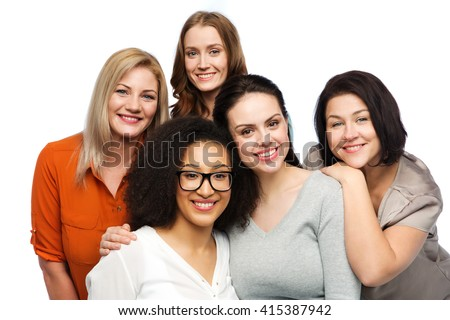 friendship, fashion, body positive, diverse and people concept - group of happy different women in casual clothes - stock photo