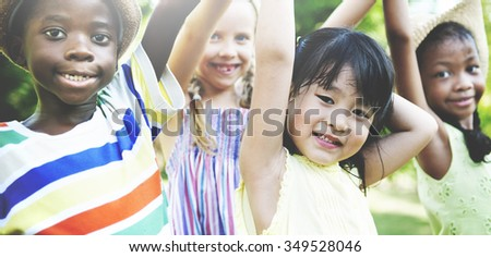 Friendship Happiness Togetherness Children Casual Concept