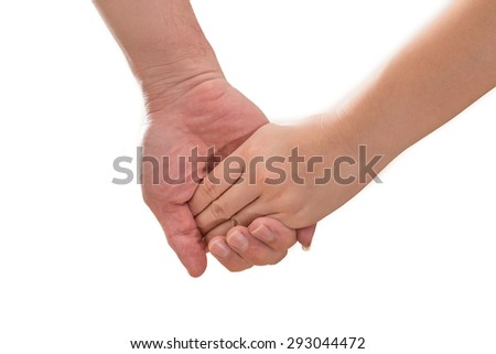 Friendship, Love couple concept between man and woman - man's hand hold by a girl hand isolated on the white background - stock photo