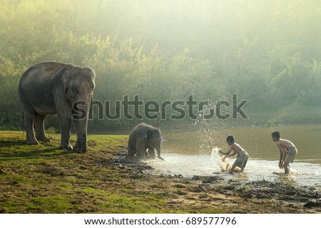 Friendship of people and animals with elephant in the family.