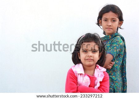Friendship of two adorable girls - stock photo