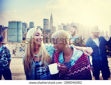 Friendship Party Rooftop TErrace Cheerful Concept - stock photo
