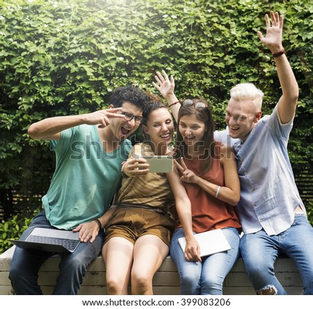 Friendship Selfie Cheerful Happiness Concept - stock photo