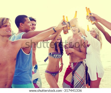 Friendship Summer Beach Party Bonding Cheers Leisure Concept