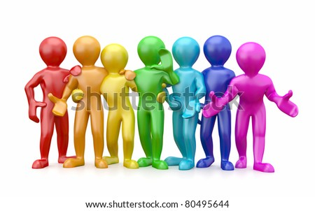 Friendship. Teamwork. Group of people on white isolated background. 3d