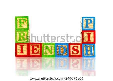 friendship word reflection on white background