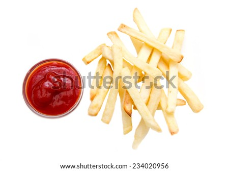 Fries and ketchup on bowl on white background viewed from above - stock photo