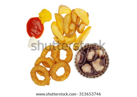 fries,onion rings and drink with sauces,isolated on white - stock photo