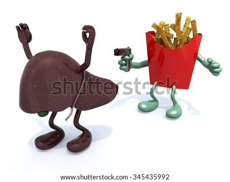 fries with arms wielding gun to the human liver, 3d illustration - stock photo