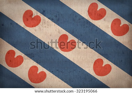 Friesland flag pattern on fabric texture,retro vintage style - stock photo