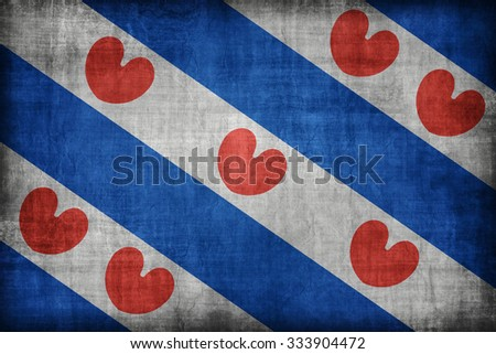 Friesland flag pattern , retro vintage style - stock photo