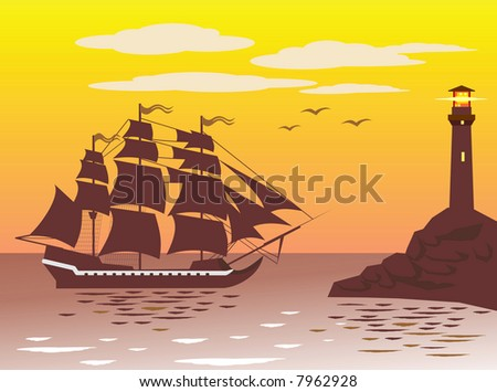 Frigate is arriving in a port near the lighthouse. You can find vector version of this image in my portfolio. - stock photo