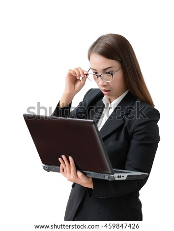 Frightened and stressed young business woman  Hand holding glasses and open mouth her Eye staring to  laptop. on white background. surprised concept